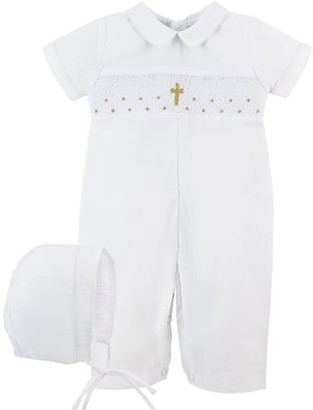 Carriage Boutique Christening Romper & Bonnet Set