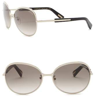 Lanvin 60mm Modified Oval Metal and Acetate Sunglasses