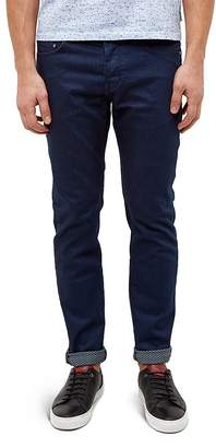 Ted Baker Straight Fit Printed Weft Jeans in Rinse $205 thestylecure.com