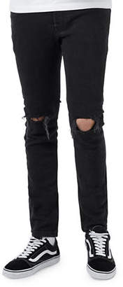 Topman Washed Ripped Stretch Skinny Jeans