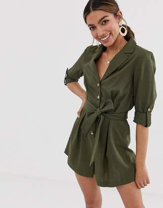 8a149168e7e Miss Selfridge linen utility playsuit in khaki