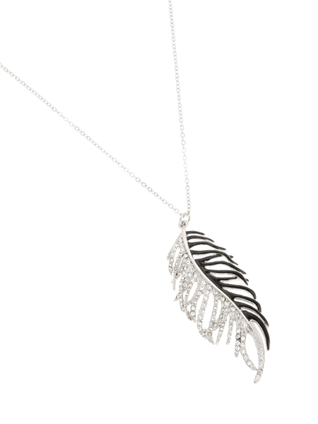 Silver-tone & Black Feather Necklace