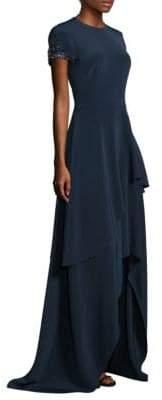 Theia Floor-Length Tiered Asymmetrical Hem Gown