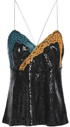 Marco De Vincenzo Lace-Trimmed Sequined Tulle Camisole