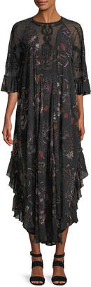 Free People Spirit Of The Wild Beaded Illusion Maxi Dress