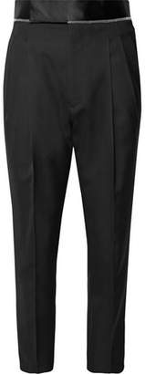 Haider Ackermann Slim-Fit Cropped Satin-Trimmed Virgin Wool Trousers
