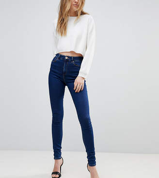Asos Tall DESIGN Tall Ridley high waist skinny jeans in deep blue wash