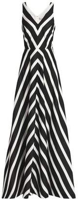 Halston Metallic Striped Canvas Gown