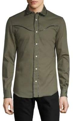 Valentino Spread Collar Cotton Button-Down Shirt