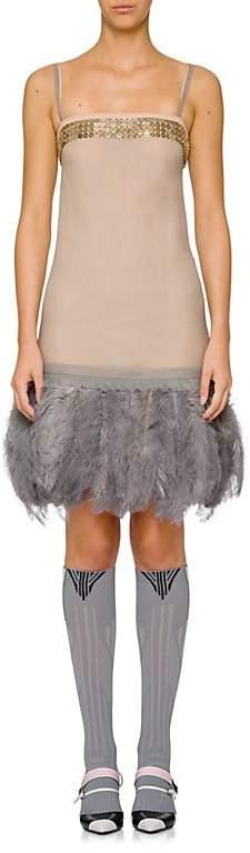 Prada Women's Feather-Trimmed Cocktail Dress