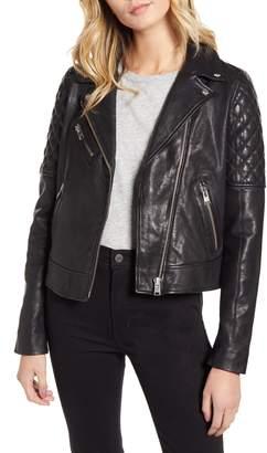 LAMARQUE Quilted Shoulder Leather Biker Jacket