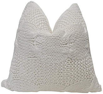 One Kings Lane Vintage White Chunky Cable Knit & Linen Pillow