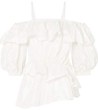 Simone Rocha Cold-shoulder Ruffled Silk-taffeta Top - Ivory