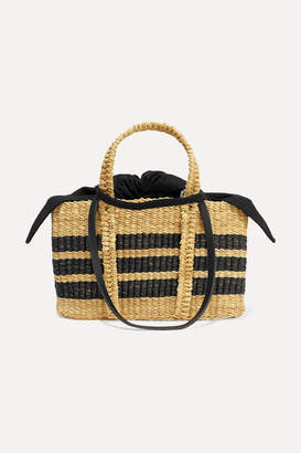 Muun Rey Mini Straw And Cotton-canvas Tote - Black