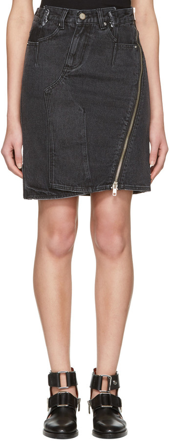 3.1 Phillip Lim3.1 Phillip Lim Black Asymmetric Zip Denim Miniskirt