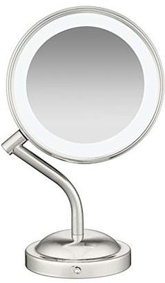 Conair Double-Sided Battery Operated Lighted Makeup Mirror - Lighted Vanity Makeup Mirror with LED Lights; 1x / 5x Magnification; ; Bonus Makeup Brush Included