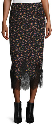 McQ Alexander McQueen Silk Jersey Midi Skirt, Vintage Floral $395 thestylecure.com