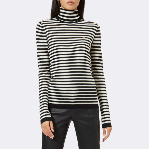 Women's Striped Skinny Dog Jumper Black/Ivory