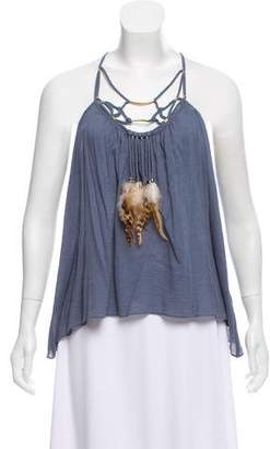 Rebecca Taylor Faux-Feather Accented Razor-Back Top