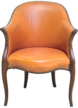 One Kings Lane Vintage Antique George III Leather Armchair - Vermilion Designs