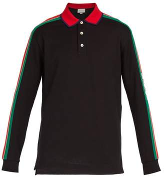 Gucci Logo Stripe Long Sleeved Cotton Blend Polo Shirt - Mens - Black Multi