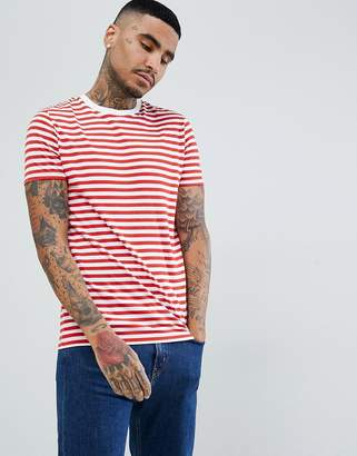Asos Design Stripe T-Shirt In Red And White