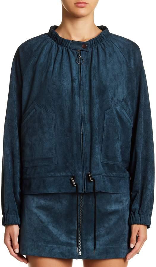 BCBGMAXAZRIA Faux Suede Raglan Sleeve Jacket