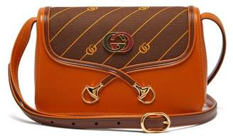 Gucci Gg Logo Leather And Canvas Shoulder Bag - Womens - Tan Multi
