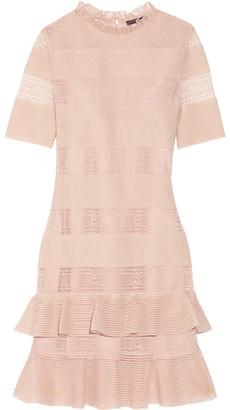 Alexander McQueen - Ruffled Lace-paneled Metallic Silk-blend Mini Dress - Blush $2,795 thestylecure.com