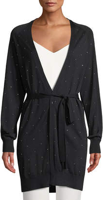 Max Mara Frida Tie-Waist Speckled Wool Cardigan
