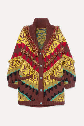 Etro Oversized Fringed Wool-blend Cardigan - Yellow