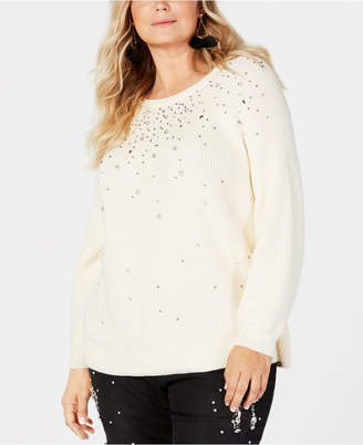 INC International Concepts I.n.c. Plus Size Rhinestone-Embellished Sweater