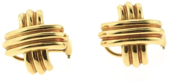Tiffany & Co. 18K Yellow Gold Criss Cross Stud Earrings