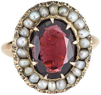 One Kings Lane Vintage 14K Art Deco Garnet Seed Pearl Ring - Precious & Rare Pieces