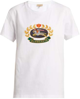 Burberry Gully crest and logo-embroidered cotton T-shirt