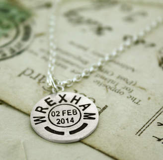Nicola Crawford Personalised Location And Date Necklace