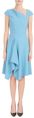 Roland Mouret Asymmetric-Neck Cap-Sleeve Fit-and-Flare Crepe Dress w/ Handkerchief Hem