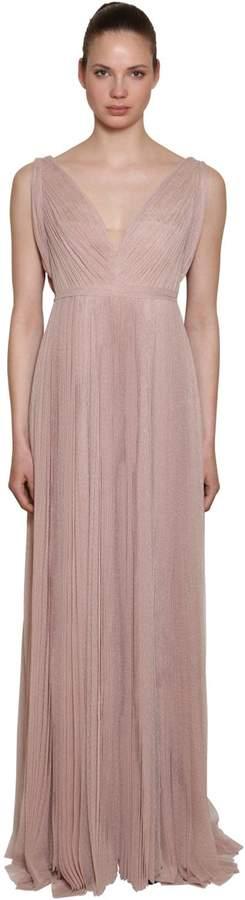 Polka Dots Pleated Long Dress