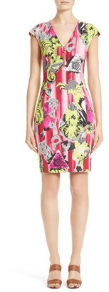 Women's Versace Collection Print Jersey Cap Sleeve Dress $895 thestylecure.com