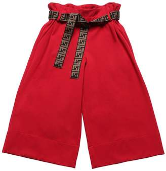 Fendi Milano Jersey Wide Leg Pants W/Logo Belt