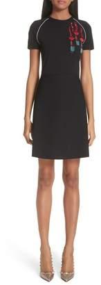 Valentino Lipstick Embellished A-Line Dress