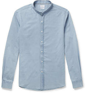 Brunello Cucinelli Grandad-Collar Cotton-Chambray Shirt - Men - Light blue