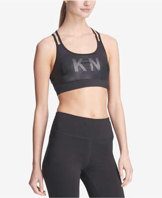 DKNY Sport Logo Glitter Strappy-Back Low-Impact Sports Bra