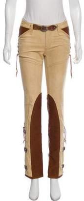 Ralph Lauren Vegan Leather-Accented Low Rise Jeans