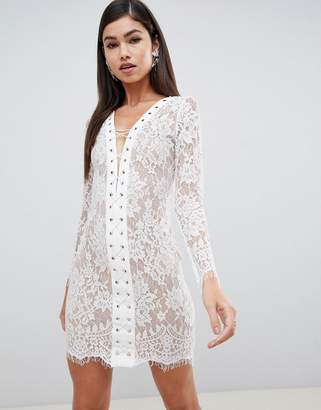 Forever Unique lace lace-up front mini dress