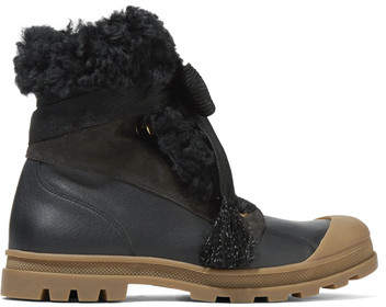 Chloé - Parker Shearling-trimmed Suede And Leather Ankle Boots - Black