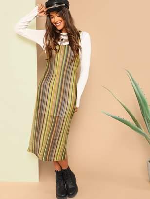 Shein 2 in 1 Loose Knit Striped Dress