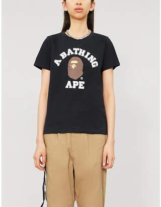 BAPE College brand-print cotton-jersey T-shirt