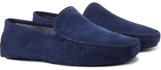 Thom Sweeney Cashmere-Lined Suede Slippers