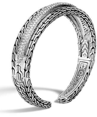 John Hardy Classic Chain Arched Cuff w/ Diamond Pave